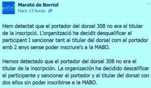 Marató Borriol descalifica corredor por dorsal ajeno